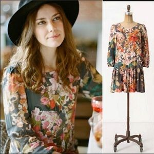 Anthropologie Meadow Rue Floral Drop Waist Dress